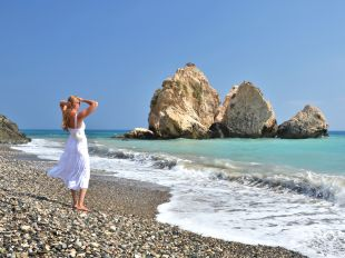 Girl on the beach near Aphrodite birthplace, Cyprus