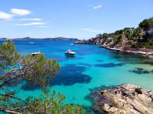 Moored Yachts in Cala Fornells, Majorca, Spain