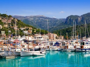 Port de Soller view with tramontana mountain in Mallorca island in Spain
